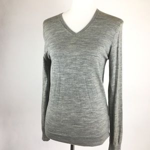 Uniqlo Gray Wool V-Neck Sweater